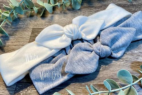 Marl Grey Knot Bow Elasticated Headband