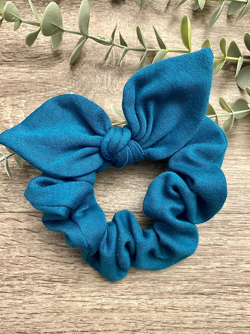 Teal Knot Bow Scrunchie