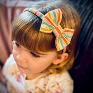 Green Rainbow Stripe Classic Bow Headban