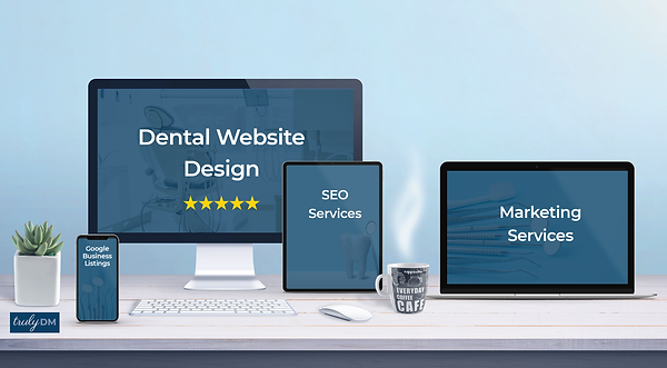 Marketing Services listed on computers Dental Website Design, SEO, Google