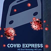 The image for the song Covid Express which is a bus illustration with wheels that look like the image for COVID-19.
