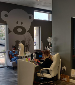 Autibear watching over the reception area.
