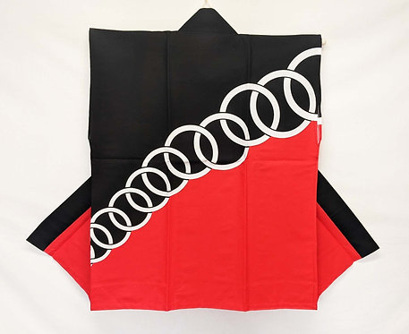 Black & Red with Rings Sleeveless Happi