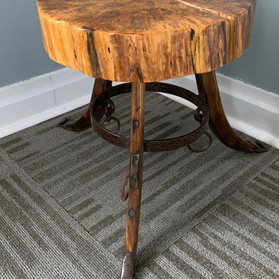 Maple Wood Slab Table Top with Horse Saddle Legs