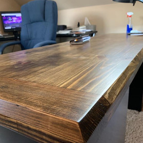 Pine Wood Office Table with Dark Walnut Stain
