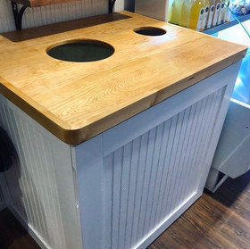 Table Top with Trash Can Storage