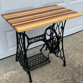 Multi-Wood Table Top with Singer Sewing Machine Legs