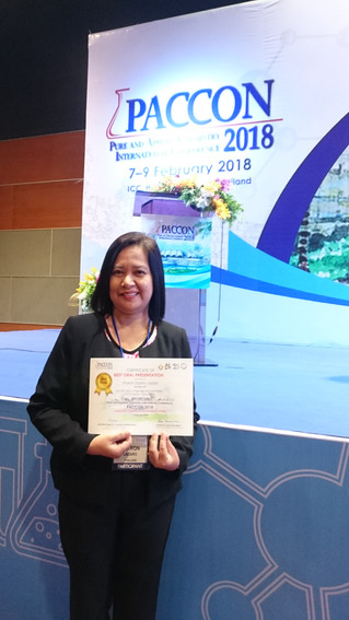 Chemistry postgraduate won the best oral presentation award at PACCON 2018