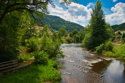 Wolfach and the Kinzig river in the black forest in Germany