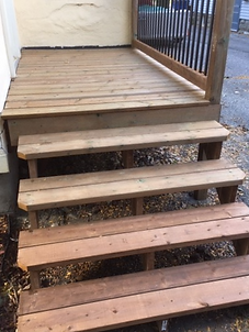 small porch deck and stairs