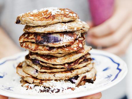 FLOUR FREE BANANA & BLUEBERRY PANCAKES by Green Kitchen Stories