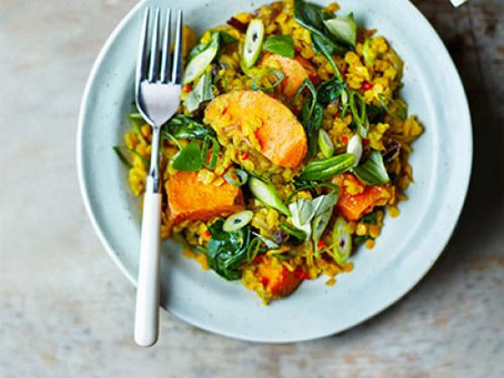 SPINACH, SWEET POTATO & LENTIL DHAL by Sophie Godwin