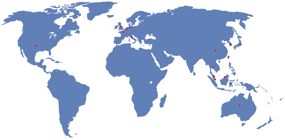 world map with kristalbond patented countries