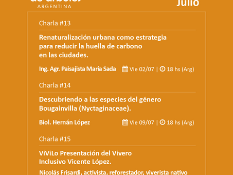 Arrancó julio y te compartimos la agenda del Ciclo de Webinars de #MillóndeArboles