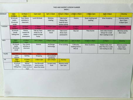 Timetable for working from home parents or anyone else