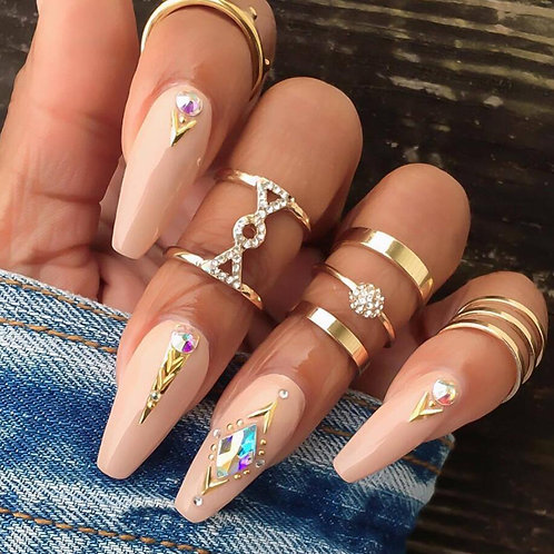 Stylish 5 Piece Ring Set - Gold