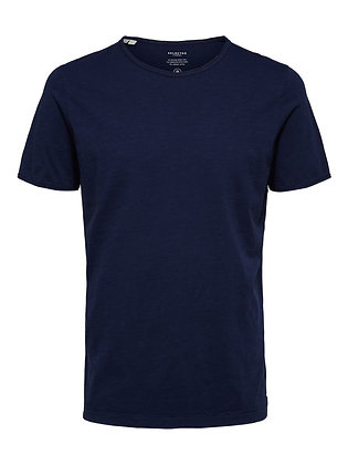 T-SHIRT SELECTED UNI BLEU MARINE