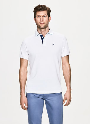 POLO HACKETT BLANC MAILLE PIQUEE