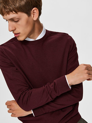 PULL BORDEAUX COL ROND SELECTED
