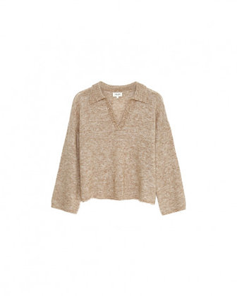 PULL ML GRACE & MILA PULL ML COL POLO  TAUPE - DAMIER