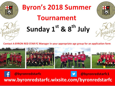 Byron's 2018 Tournament confirmed !