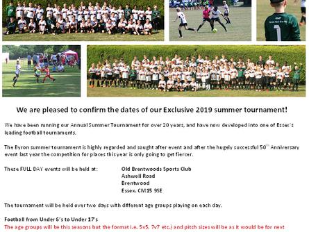 Summer Tournament- Dates announced !