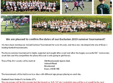 Summer Tournament- Dates announced !