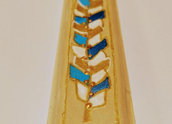 מזוזה זהב כחול ותכלת עלעלים