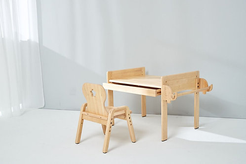 Adjustable Table and Chair Set with Drawer