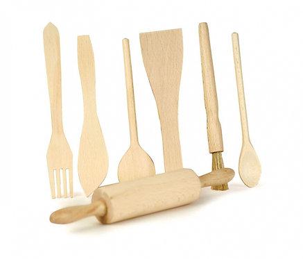 Montessori Wooden Kitchen Utensils Set of 7