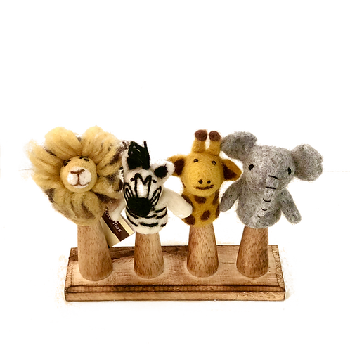 African Animal Finger Puppets Set of 4 Pieces