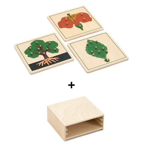 3 Plant Wooden Puzzles with Storage