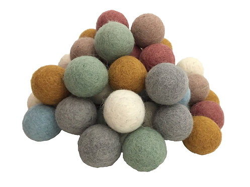 Papoose Earth Felt Balls 3.5cm 49 pieces