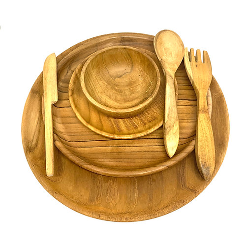 Teak Plate Setting Set of 7 Piece