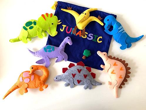 Felt Dinosaur 7pcs with bag