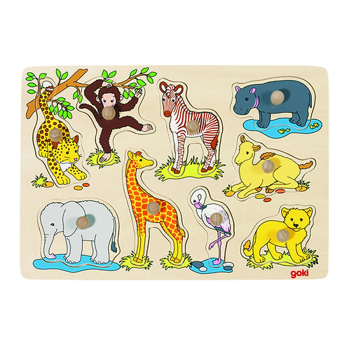 Goki African Baby Animals Puzzle with knobs