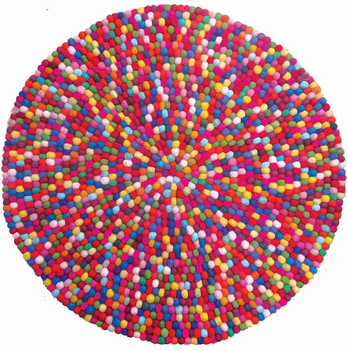 Papoose Wool Felt Ball Mat 120cm - Multicolours
