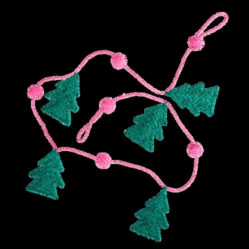 Raffia Christmas Garland in Pink - 100cm