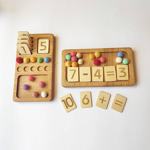 Wooden Math Board with Number Cards and Felt Balls