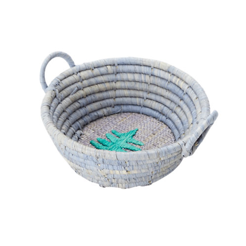 Handmade Christmas Embroideries Raffia Round Basket - Mini