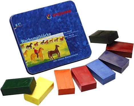 Stockmar Wax Crayons 8 Blocks in Tin Waldorf Mix