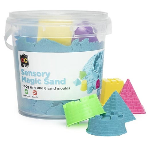 Sensory Magic Sand with Moulds 600g Tub Blue