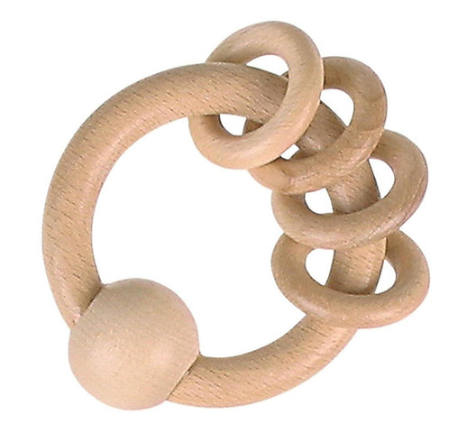 Goki Touch Ring Rattle with 4 Rings Natural