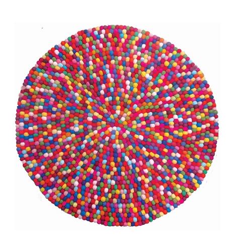 Papoose Wool Felt Ball Mat 90cm - Multicolour