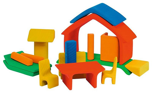 Gluckskafer Wooden Blocks - All-in House Red 17 pcs 22 x 7 x 15cm