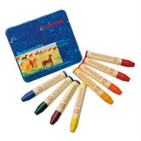 Stockmar Wax Crayons with Pure Beeswax 8 Sticks in Tin Waldorf Mix