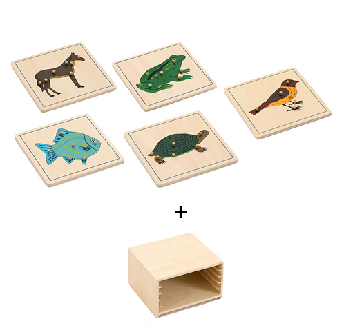5 Animals Wooden Puzzle with Storage Set