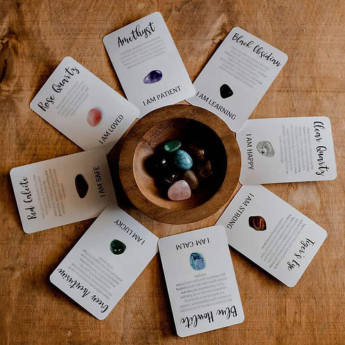 Crystal Affirmations with 8 Cards and Tumble Stones