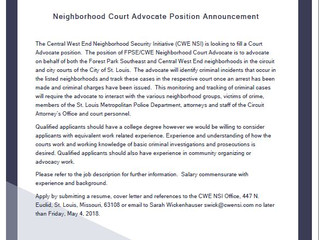 Job Announcement: NSI seeking a Neighborhood Court Advocate (FILLED)