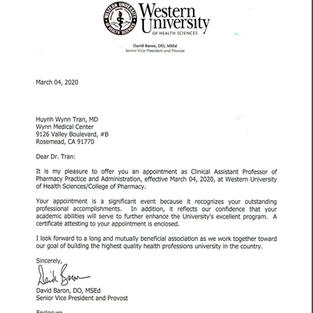 Letter to Dr. Tran from WesternU